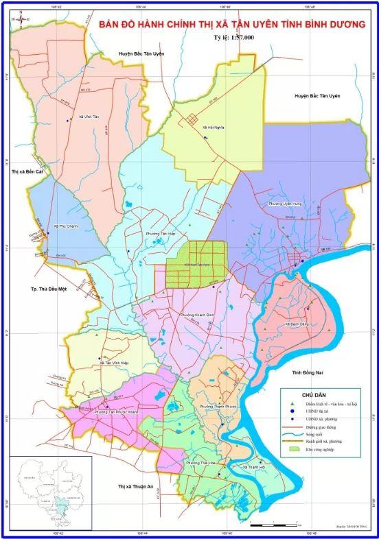 Bản đồ hành chính Thị xã Tân Uyên tỉnh Bình Dương