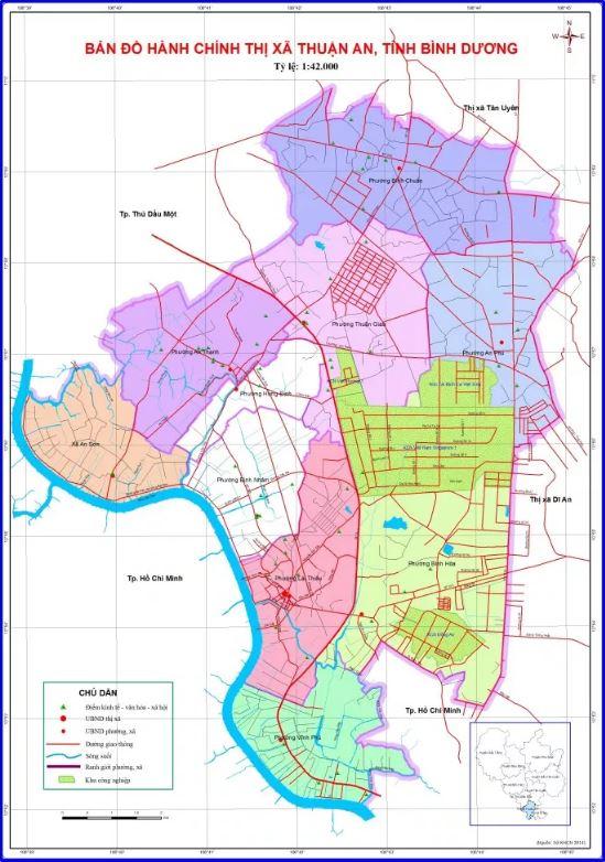 Bản đồ hành chính Thị xã Thuận An tỉnh Bình Dương