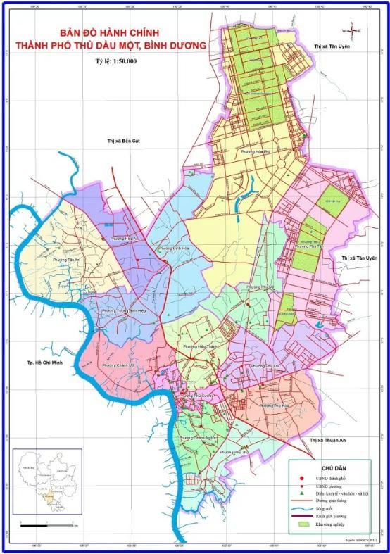 Bản đồ hành chính Thủ Dầu Một tỉnh Bình Dương
