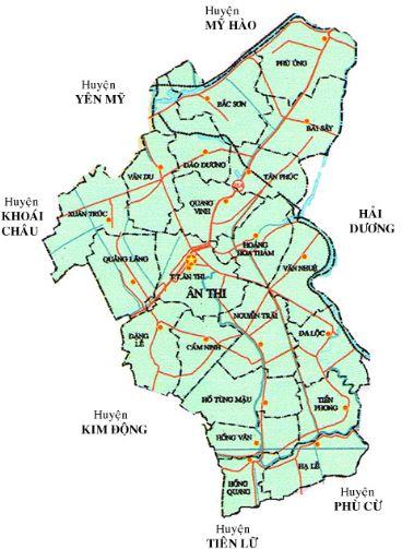 Bản đồ hành chính huyện Ân Thi, tỉnh Hưng Yên