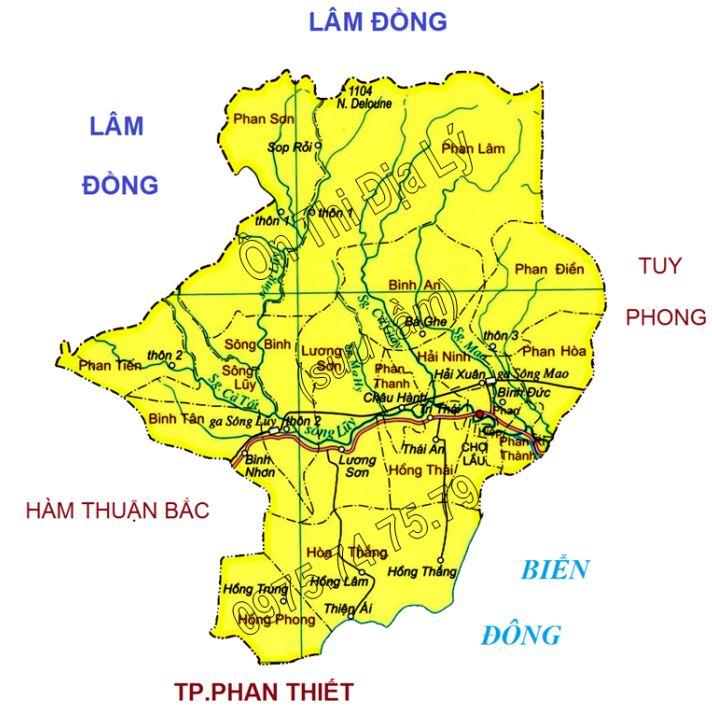 Bản đồ hành chính huyện Bắc Bình, tỉnh Bình Thuận