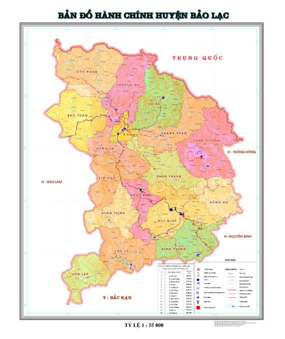 Bản đồhành chính huyện Bảo Lạc tỉnh Cao Bằng