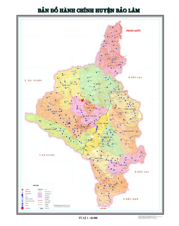 Bản đồ hành chính huyện Bảo Lâm tỉnh Cao Bằng