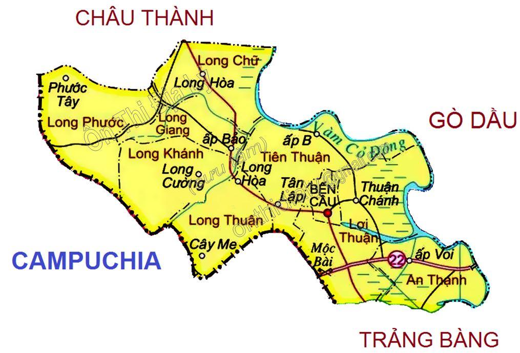 Bản đồ hành chính huyện Bến Cầu, tỉnh Tây Ninh