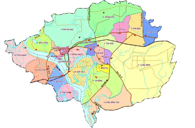 Bản đồ hành chính thành phố Biên Hòa tỉnh Đồng Nai