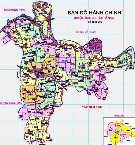 Bản đồ hành chính huyện Bình Lục, tỉnh Hà Nam