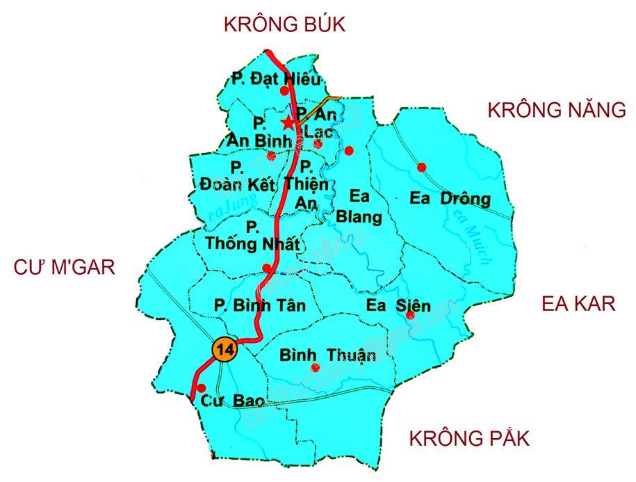 Bản đồ hành chính thị xã Buôn Hồ tỉnh Đắk Lắk