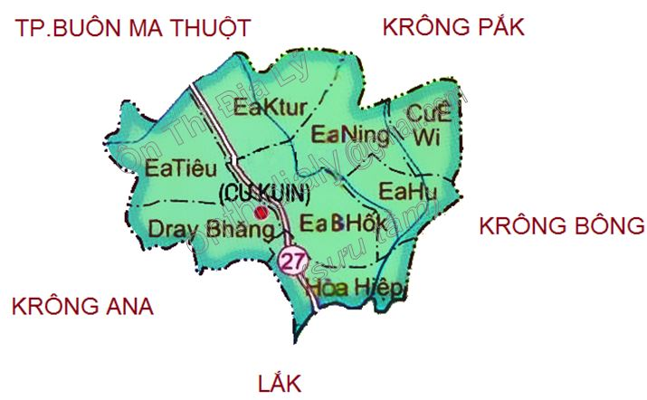 Bản đồ hành chính huyện Cư Kuin tỉnh Đắk Lắk
