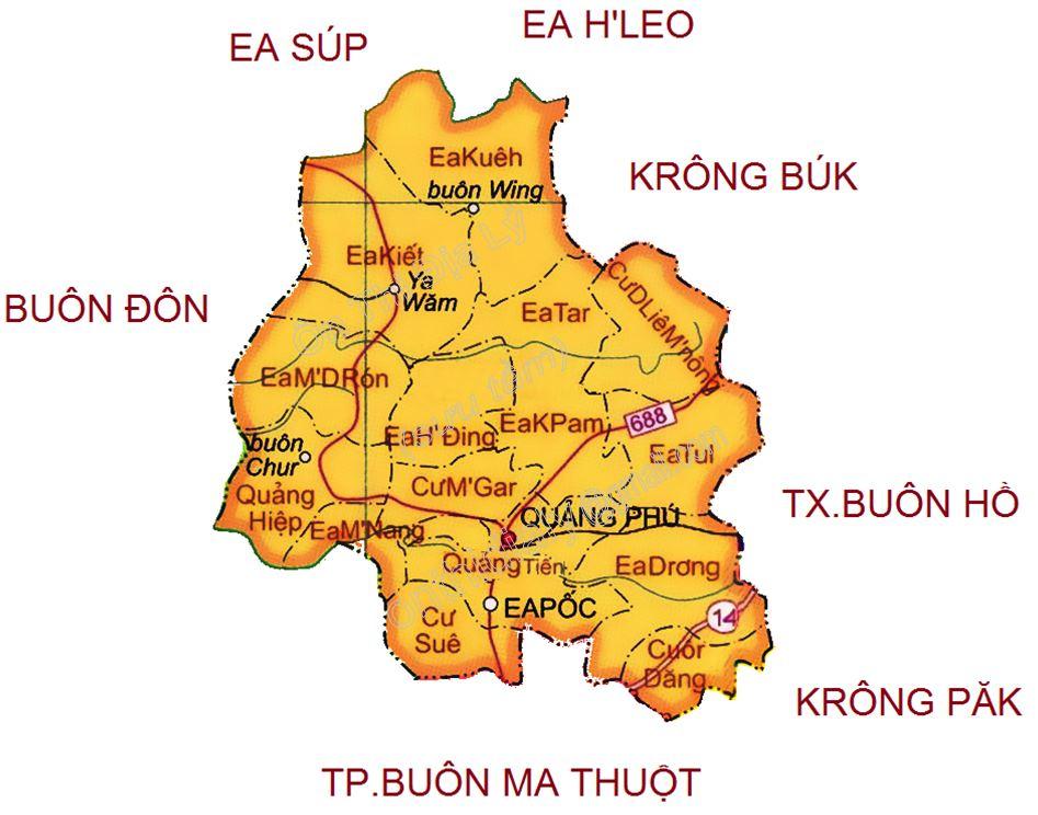 Bản đồ hành chính huyện Cư M'Gar tỉnh Đắk Lắk