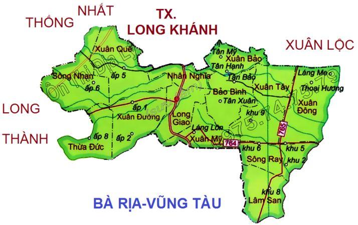 Bản đồ hành chính huyện Cẩm Mỹ tỉnh Đồng Nai