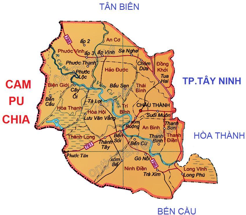 Bản đồ hành chính huyện Châu Thành, tỉnh Tây Ninh