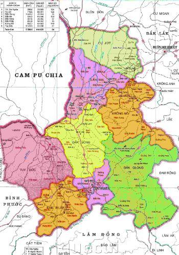 Bản đồ hành chính tỉnh Đắk Nông