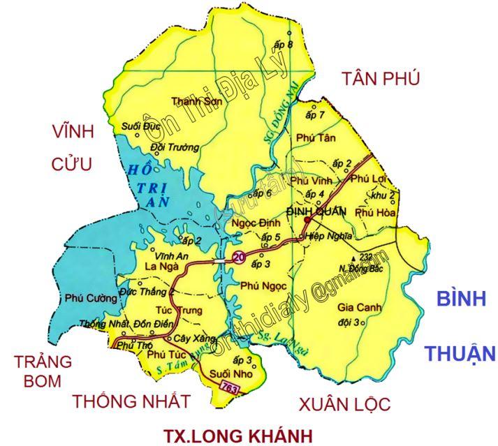 Bản đồ hành chính huyện Định Quán tỉnh Đồng Nai