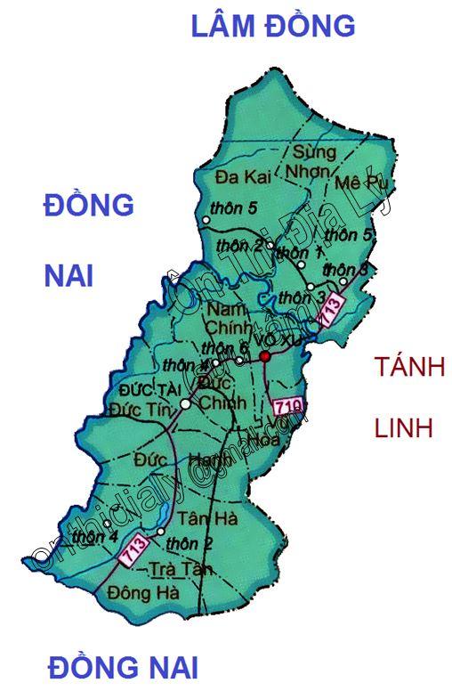 Bản đồ hành chính huyện Đức Linh, tỉnh Bình Thuận