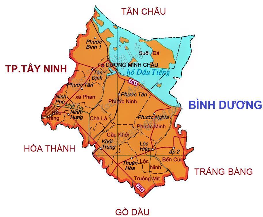 Bản đồ hành chính huyện Dương Minh Châu