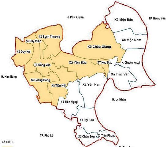 Bản đồ hành chính huyện Duy Tiên, tỉnh Hà Nam