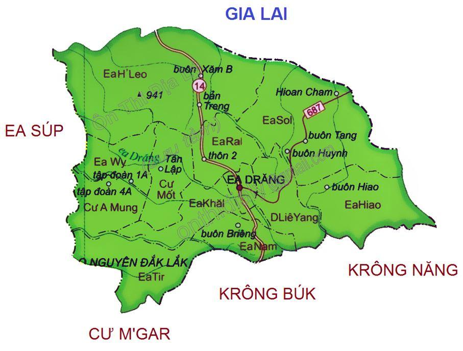 Bản đồ hành chính huyện Ea H'leo tỉnh Đắk Lắk