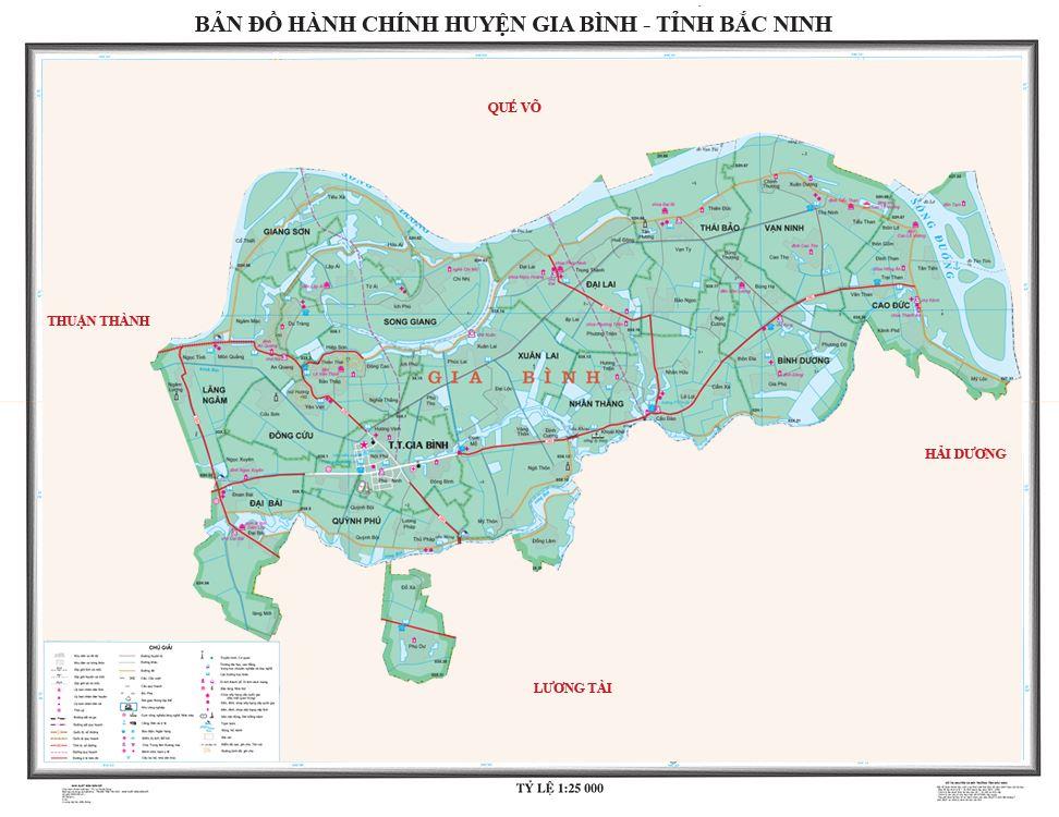 Bản đồ hành chính huyện Gia Bình tỉnh Bắc Ninh