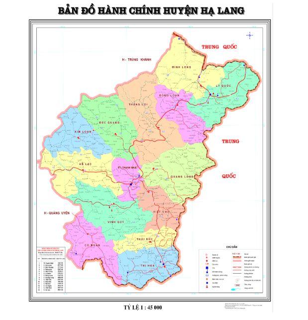 Bản đồ hành chính huyện Hạ Lang tỉnh Cao Bằng