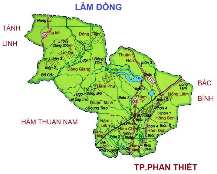 Bản đồ hành chính huyện Hàm Thuận Bắc, tỉnh Bình Thuận