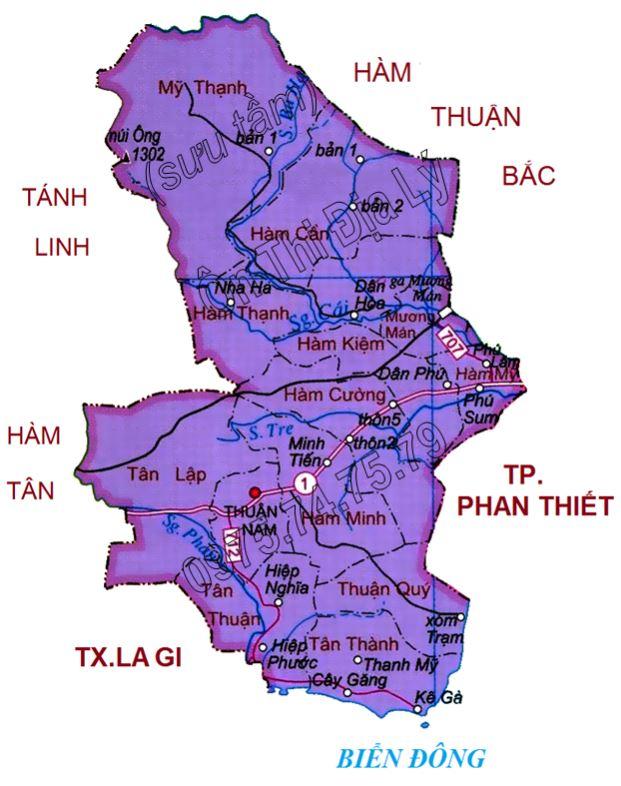 Bản đồ hành chính huyện Hàm Thuận Nam