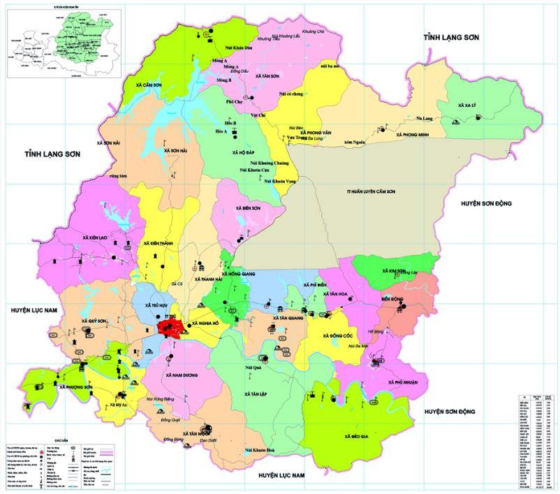 Bản đồ hành chính huyện Hiệp Hòa tỉnh Bắc Giang