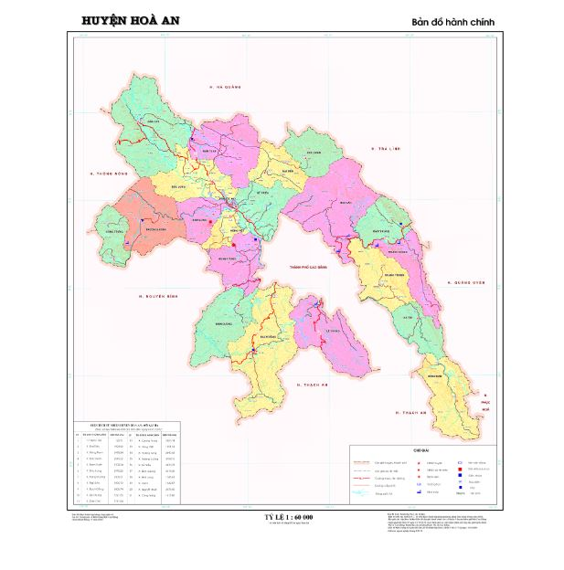 Bản đồ hành chính huyện Hòa An tỉnh Cao Bằng
