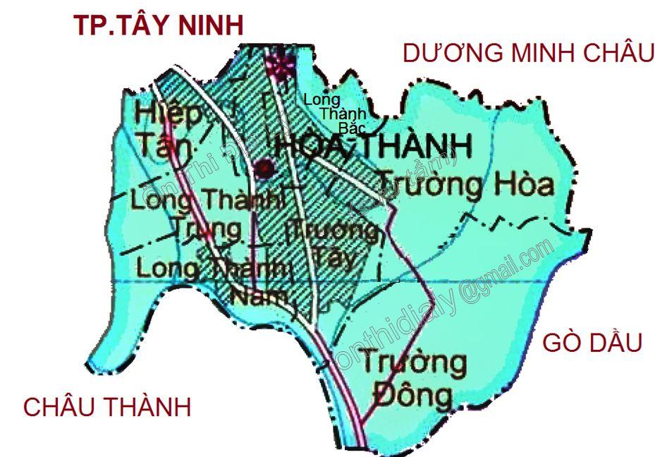 Bản đồ hành chính huyện Hòa Thành, tỉnh Tây Ninh