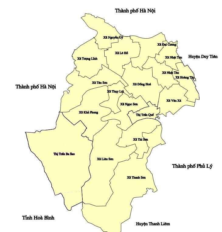 Bản đồ hành chính huyện Kim Bảng, tỉnh Hà Nam