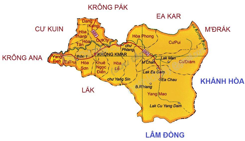 Bản đồ hành chính huyện Krông Bông