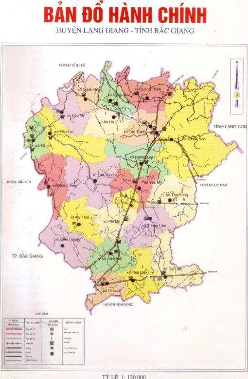 Bảng đồ hành chính huyện Lạng Giang tỉnh Bắc Giang