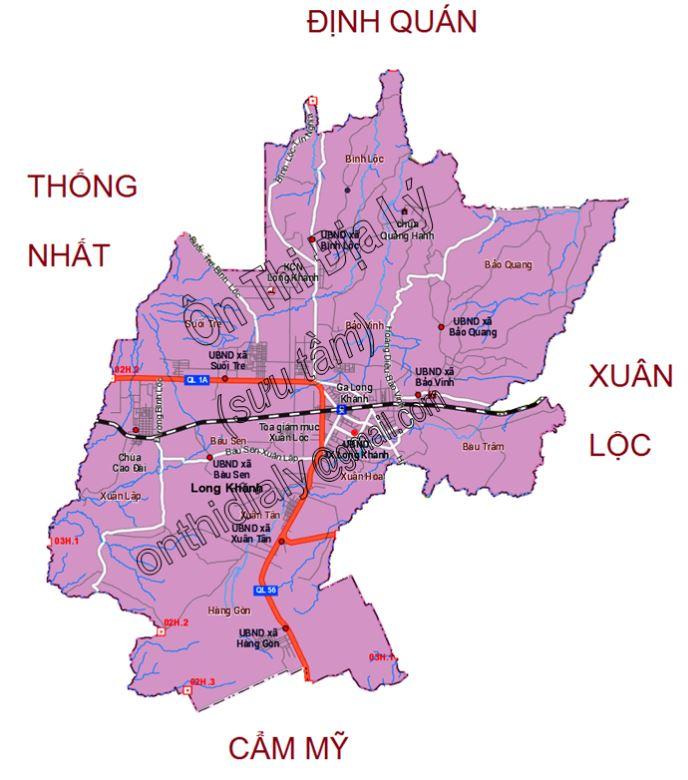 Bản đồ hành chính thị xã Long Khánh