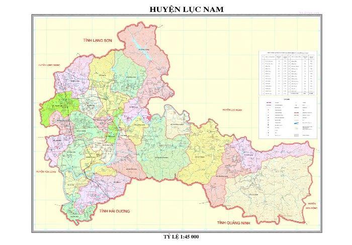 Bản đồ hành chính huyện Lục Nam tỉnh Bắc Giang