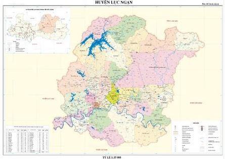 Bản đồ hành chính huyện Lục Ngạn tỉnh Bắc Giang