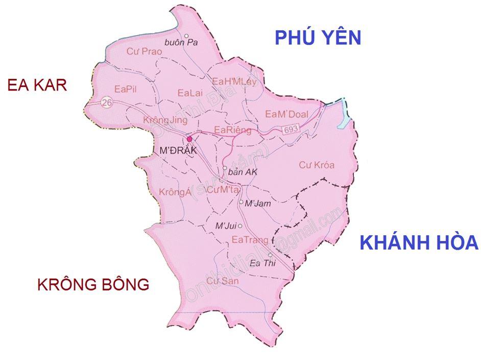 Bản đồ hành chính huyện M'Drắk