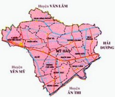 Bản đồ hành chính huyện Mỹ Hào, tỉnh Hưng Yên