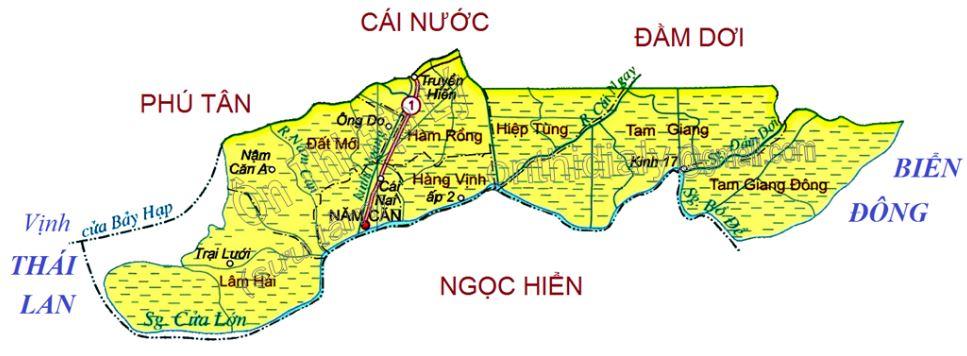 Bản đồ hành chính huyện Năm Căn tỉnh Cà Mau