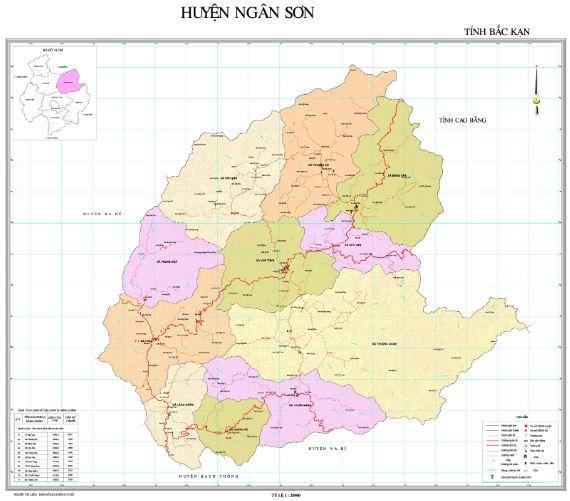 Bản đồ hành chính huyện Ngân Sơn tỉnh Bắc Kạn