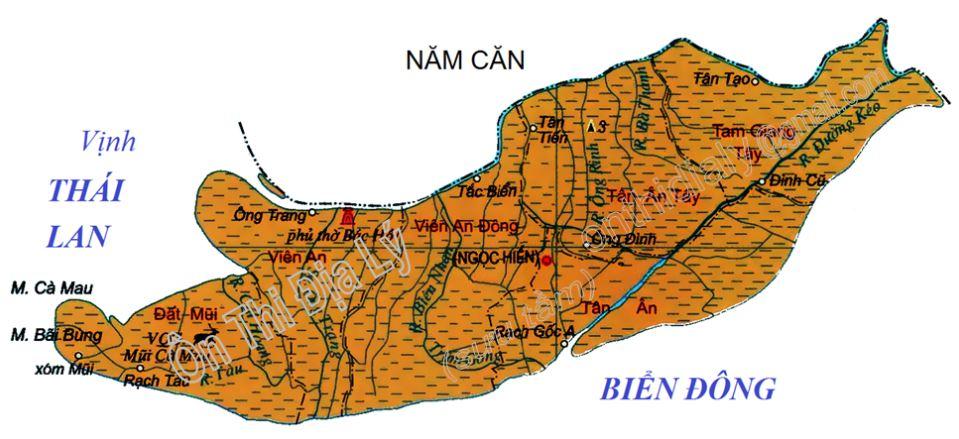 Bản đồ hành chính huyện Ngọc Hiển tỉnh Cà Mau