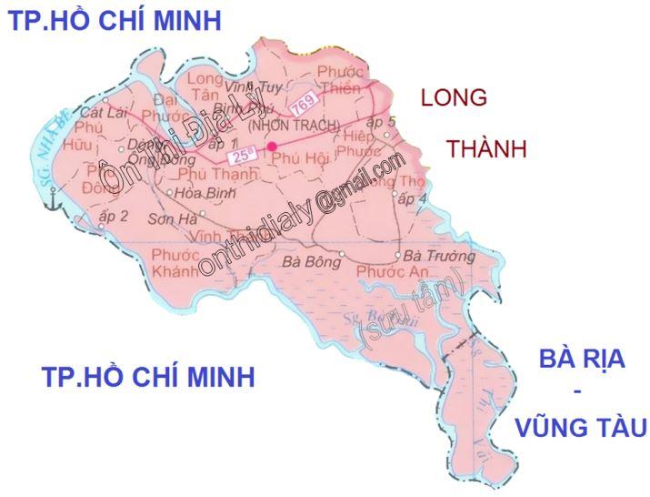Bản đồ hành chính huyện Nhơn Trạch tỉnh Đồng Nai