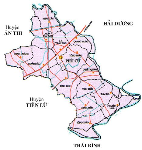 Bản đồ hành chính huyện Phù Cừ, tỉnh Hưng Yên