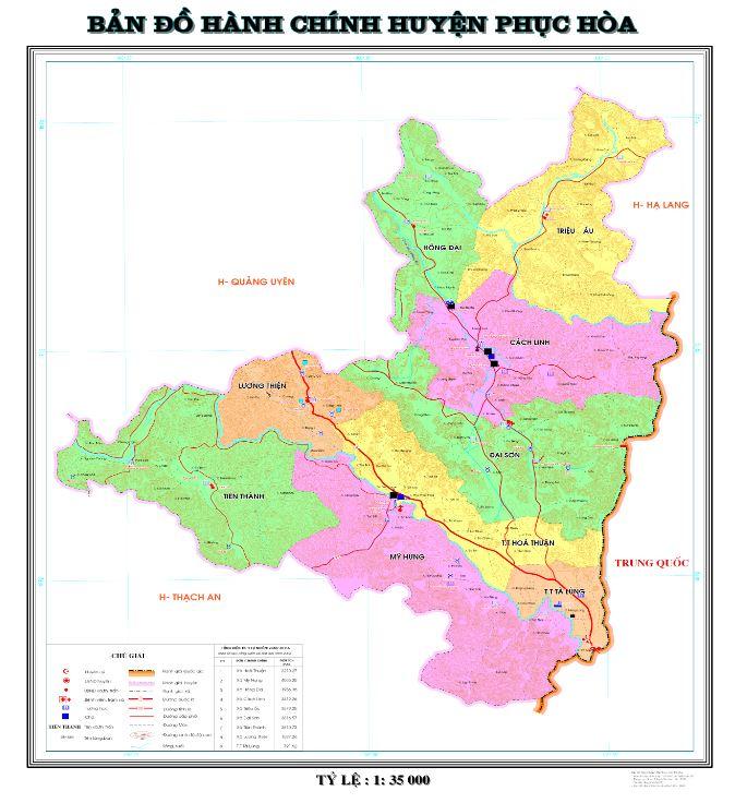 Bản đồ hành chính huyện Phục Hòa