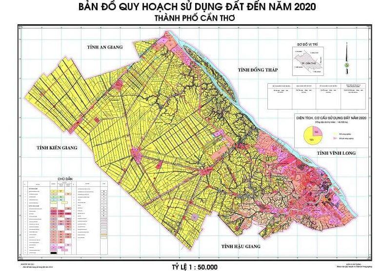 Bản đồ quy hoạch sử dụng đất thành phố Cần Thơ đền năm 2020