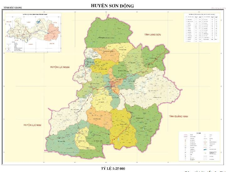 Bản đồ hành chính huyện Sơn Động tỉnh Bắc Giang