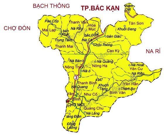 Bản đồ hành chính thành phố Bắc Kạn tỉnh Bắc Kạn