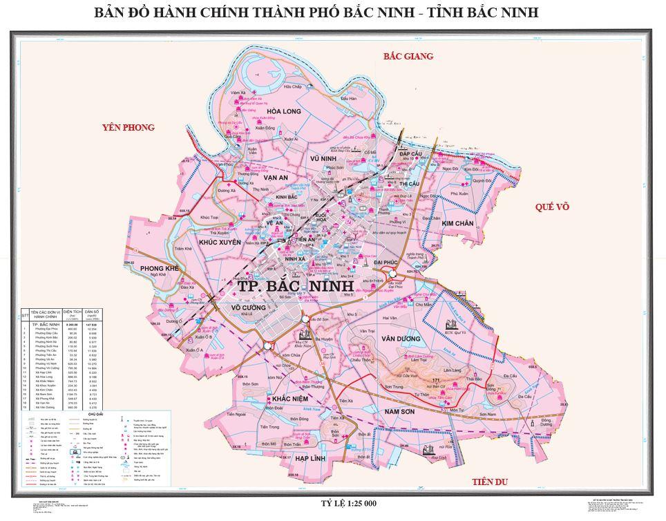 Bản đồ hành chính thành phố Bắc Ninh