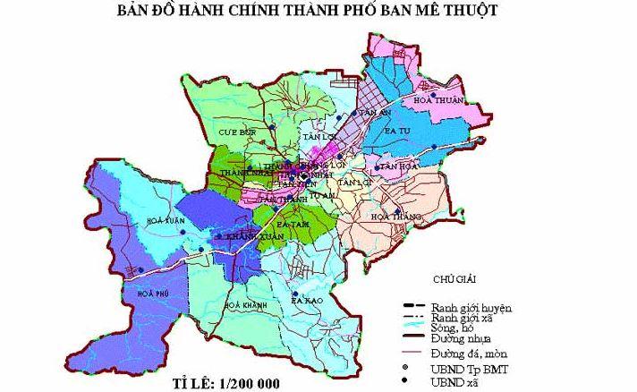 Bản đồ hành chính thành phố Buôn Mê Thuộc