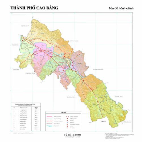 Bản đồ hành chính thành phố Cao Bằn tỉnh Cao Bằng