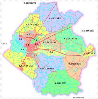 Bản đồ hành chính thành phố Cà Mau