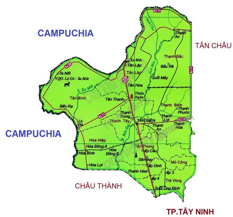 Bản đồ hành chính huyện Tân Biên, tỉnh Tây Ninh